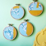 embroidery hoop wall art vintage yellow blue