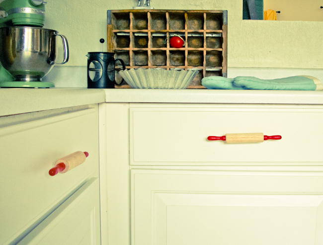 Project ReStyle:  Rolling Pin Drawer Handles