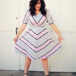 Grey and Pink Chevron Dress MayDae Etsy Vintage