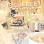 bridal shower food coffee bar spinach artichoke dip white party