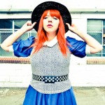 black and blue outfit post blog vintage dress hat belt chevron peter pan collar red hair redhead bangs red lips
