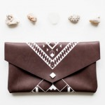 MayDae Etsy Picks Geometric Brown Leather Pouch Clutch Purse Coriumi