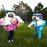Halloween Minecraft Costume Kids DIY Handmade Adult Box Pixel Pick Ax Sword Blue Steve Pink Girl Cosplay