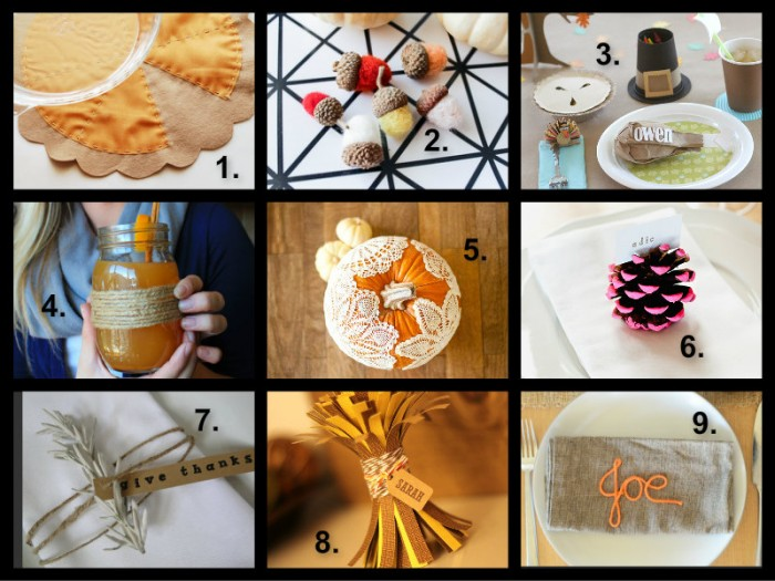 Thanksgiving crafts DIY handmade table orange drinks ideas inspiration placecards place cards acorns pumpkin pie