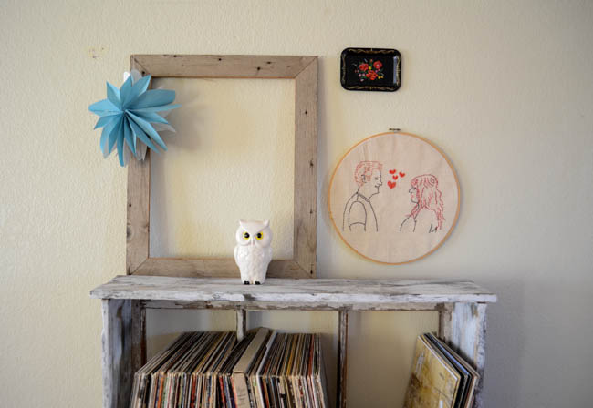 record player vinyl collection embroidery wall art ceramic owl empty frame diy home decor