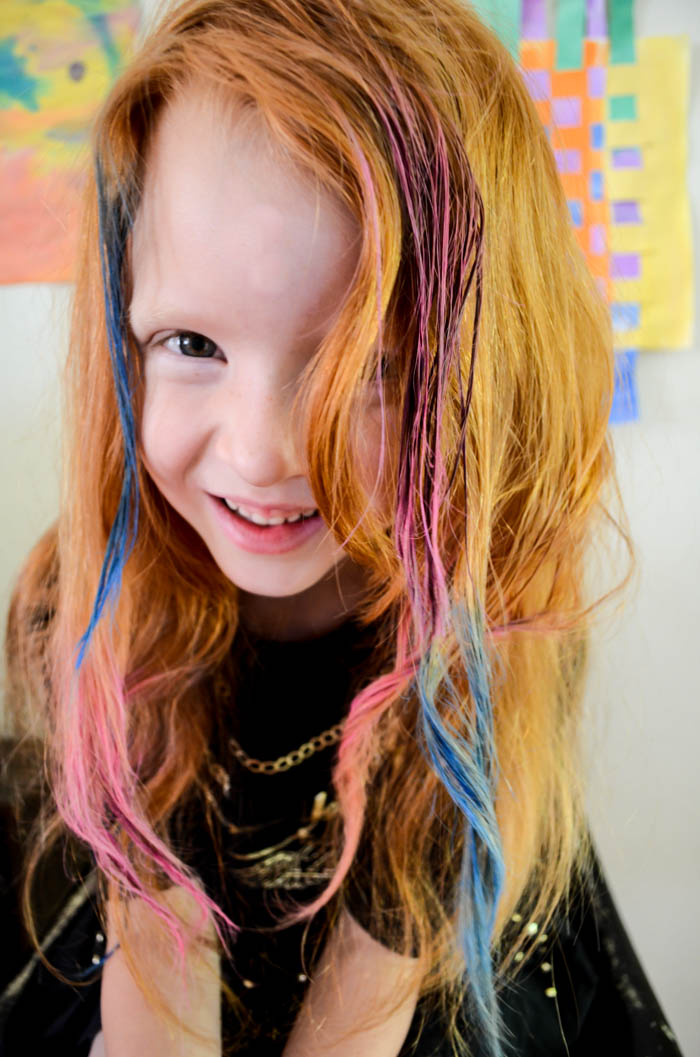 hair chalking diy for kids summer temporary hair color bright colors how to chalk pink purple green blue teal fun love sweet
