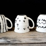 porcelain cup diy drawing writing martha stewart glass paint black geometric coffee cups mugs gifts easy christmas birthday ideas kids