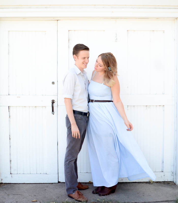 husband and wife photography photos tristan and stephanie kelley giant dwarf starlette summer blue maxi dress ombre hair love kiss