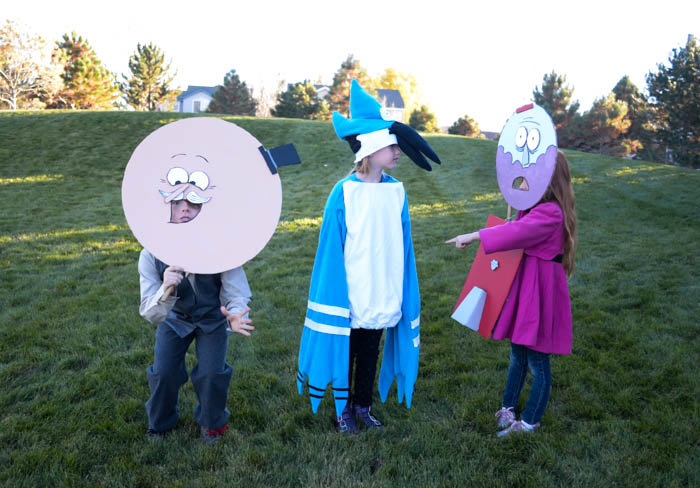 regular show costumes mordecai pops benson characters simple tv show masks diy halloween costumes kids easy cardboard paint