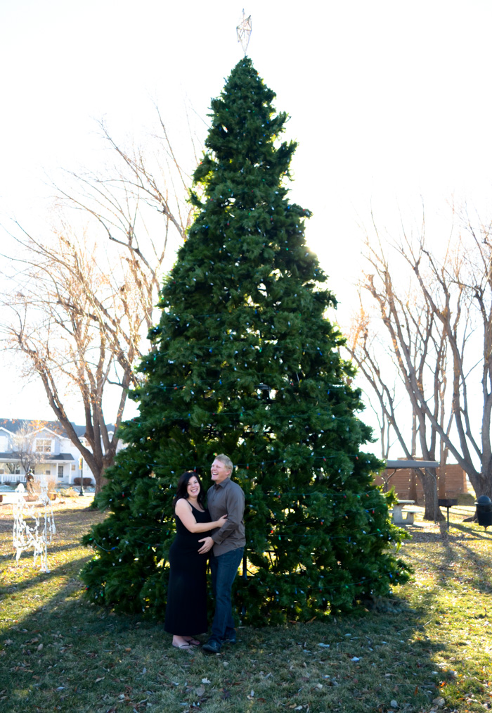 pregnancy photos pregnant couple unique black and white artistic cute couple christmas winter tree light