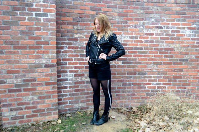 fashion style ombre hair leather jacket studs rachel roy boots leather tights and shorts sparkle silver forever 21 stephanie may maydae brick wall selfie colorado biker motorcycle jacket the whole 30 paleo diet weight loss success stories