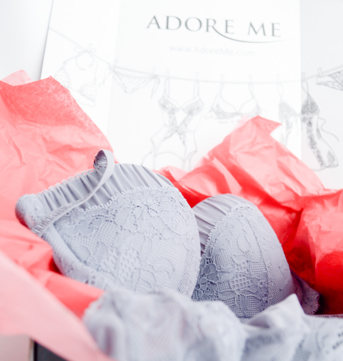adoreme adore me lingerie review bra panties fashion blog style lace gray ruched sheer pretty fun subscription adoreme.com