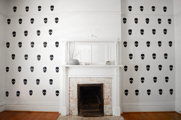 DIY Faux Skull Wallpaper