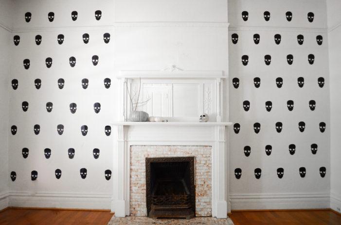 DIY Faux Skull Wallpaper